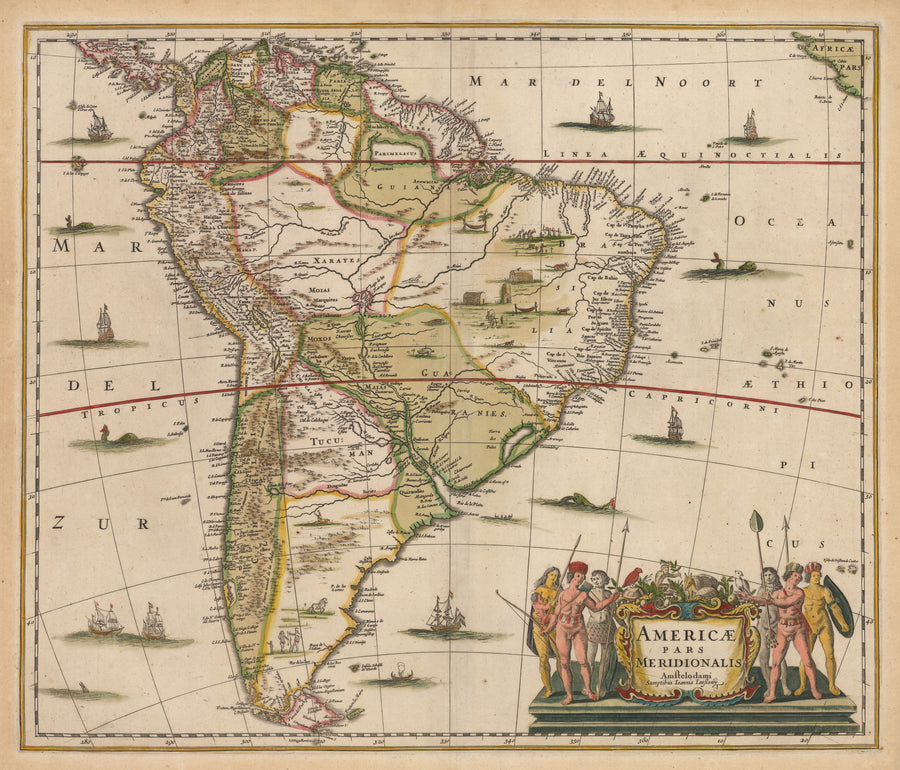 Antique Map of South America : Americae Pars Meridionalis By: Hondius / Jansson, Date: 1640