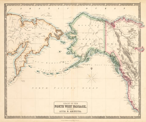 1853 Chart of the Northwest Passage, Between Asia & America