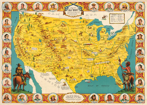 1970 Danny Arnold's Pictorial Map of the Old West