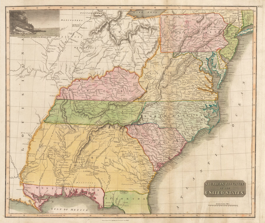Antique Map : Southern Provinces of the United States By: John Thomson, Date: 1817