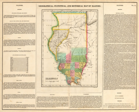 1822 Geographical, Statistical and Historical Map of Illinois