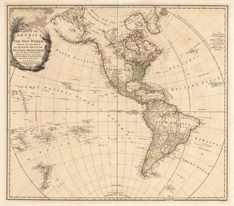 1761 A Map of America or the New World, wherein are introduced All The Known Parts  of the Western Hemisphere...