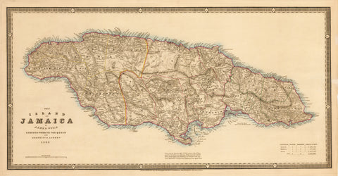 1843 The Island of Jamaica by James Wyld Geographer to the Queen and H.R.M. Prince Albert