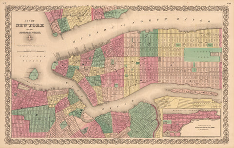1855 Map of New York and the Adjacent Cities