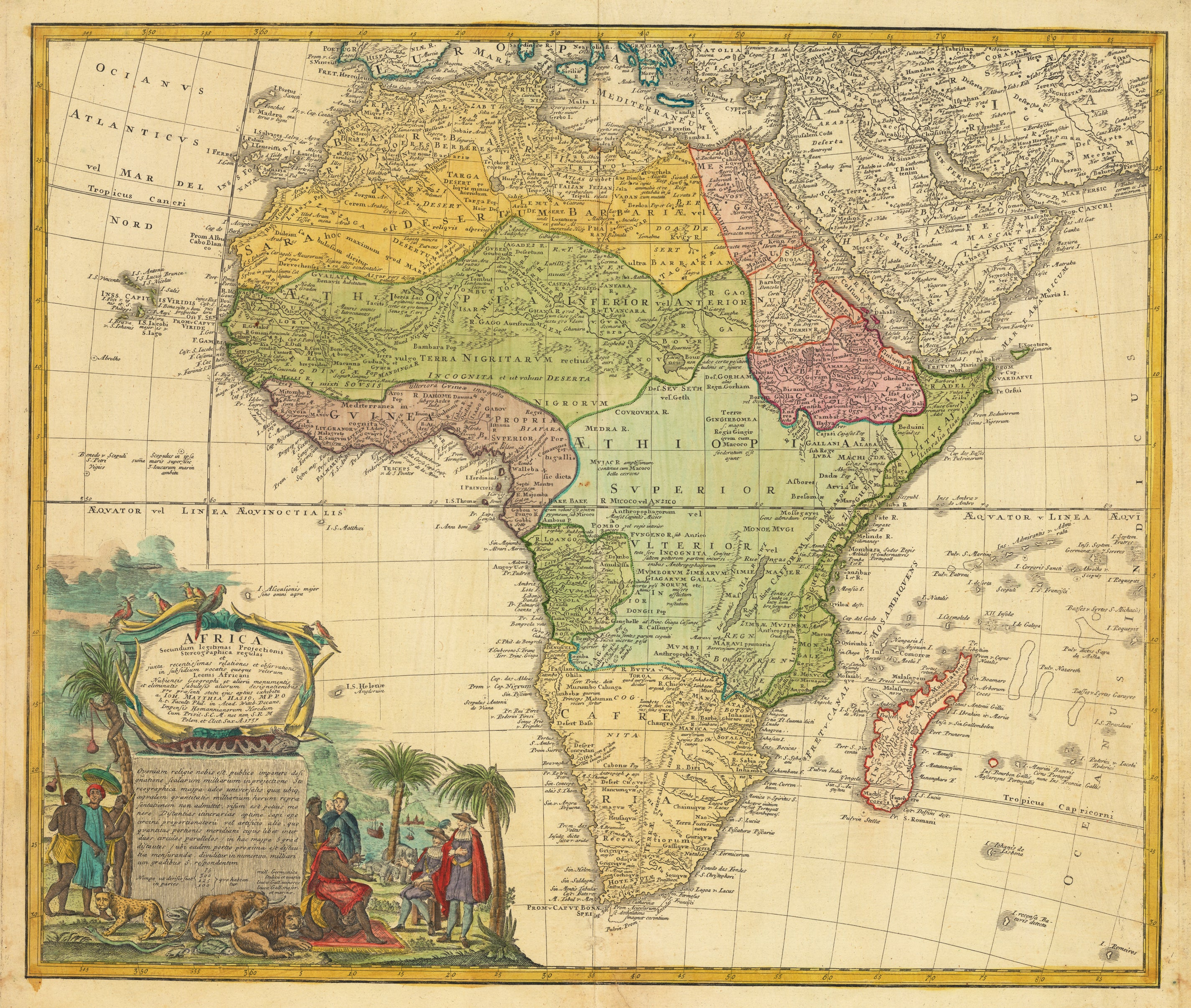 Antique Map of Africa by Homann Heirs 1736