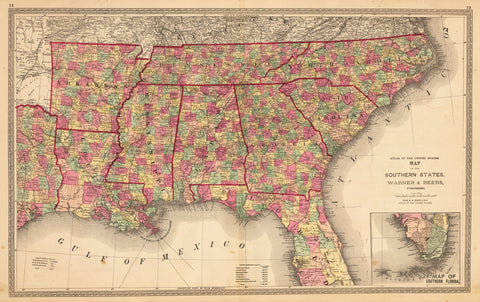 1872 Map of the Southern States.