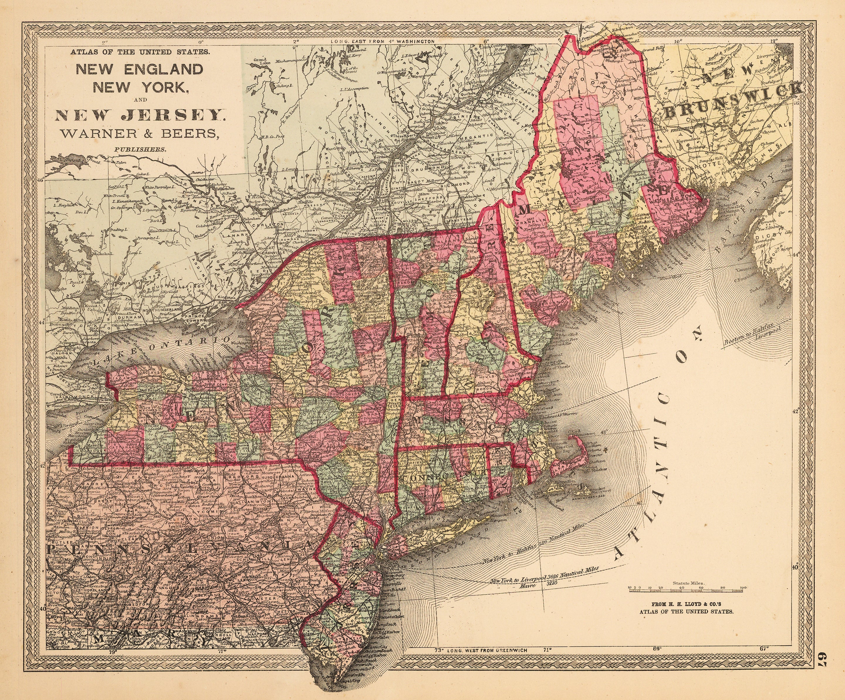 Antique Map New England, New York, and New Jersey. Warner and Beers 1872