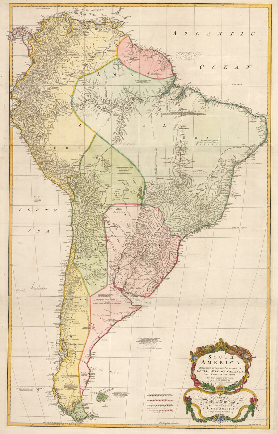 South America. Performed under the Patronage of Louis Duke of Orleans First Prince of the Blood. To His Grace the Duke of Rutland. This Map of South America is most humbly Inscribed.