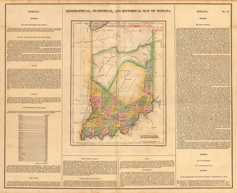 1822 Geographical, Statistical and Historical Map of Indiana