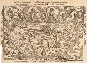 Antique World Map | Charta Cosmographica, cum Centorum propria Natura et Operatione By: Petrus Apianus Date: 1544 / 1553