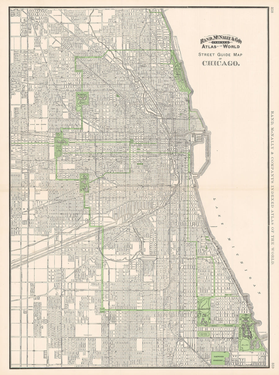 1895 Street Guide Map of Chicago