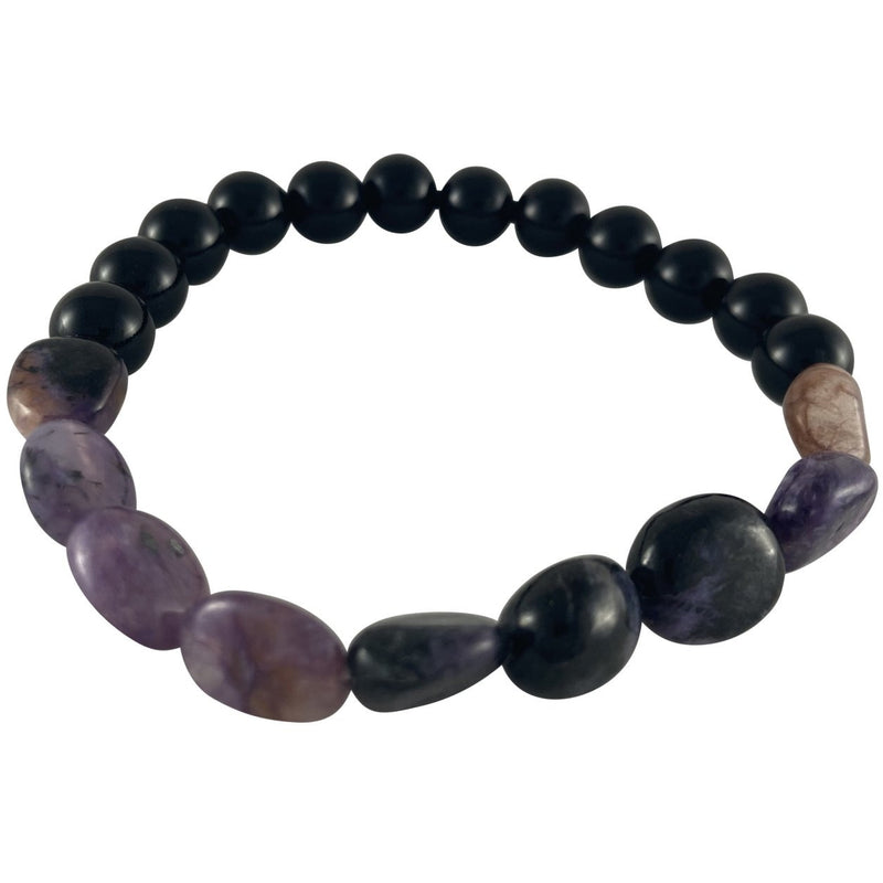 10-12mm Charoite Nugget & Black Onyx Bracelet - East Meets West USA