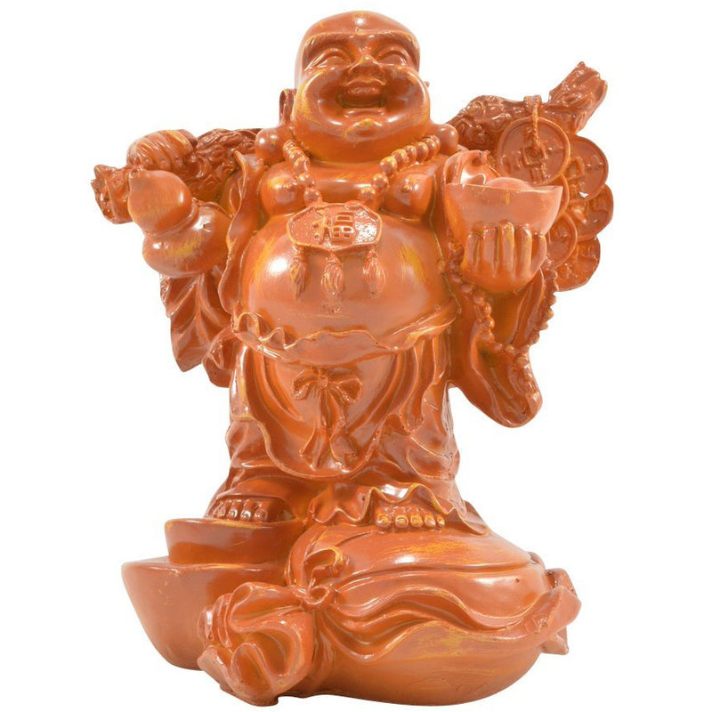 "10"" Laughing Buddha Carrying Lucky Coins Figurine - East Meets West USA"