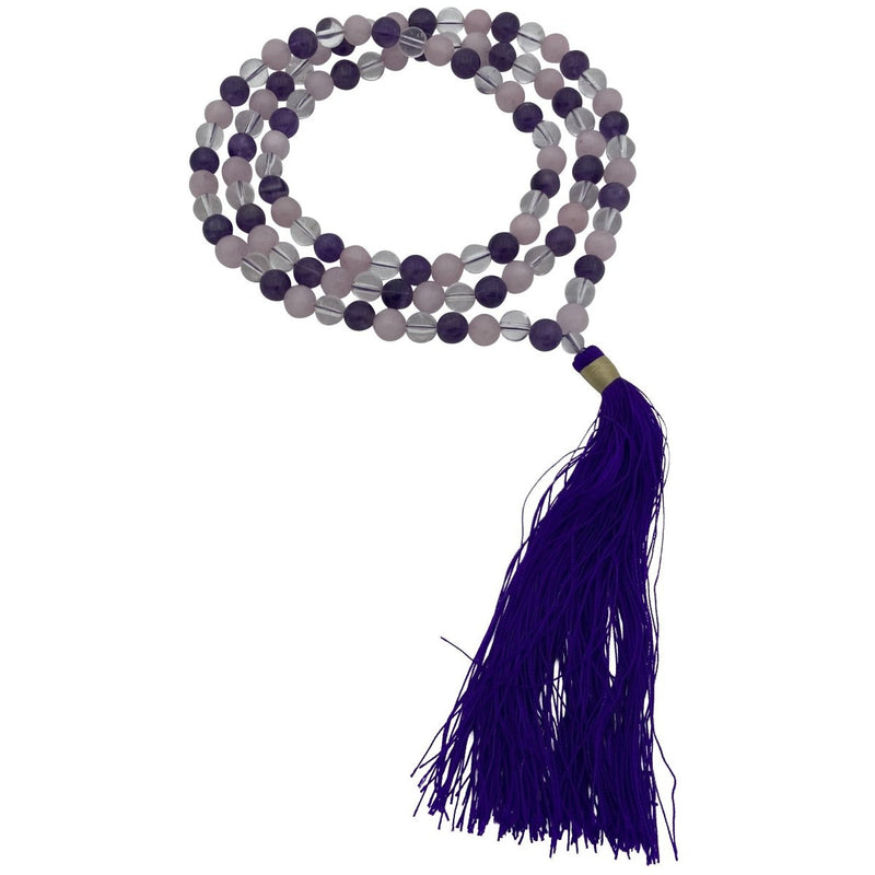 108 Bead Amethyst, Clear Quartz, & Rose Quartz Mala w/ Tassel - East Meets West USA