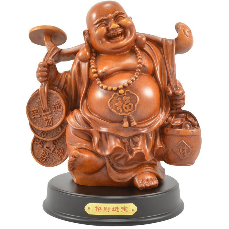 "12"" Faux Wood Buddha Carrying Money Figurine - East Meets West USA"