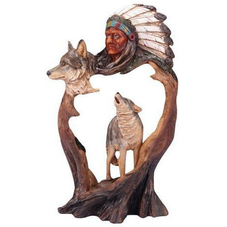 "12"" Indian Chief w/ Wolves Carving - East Meets West USA"