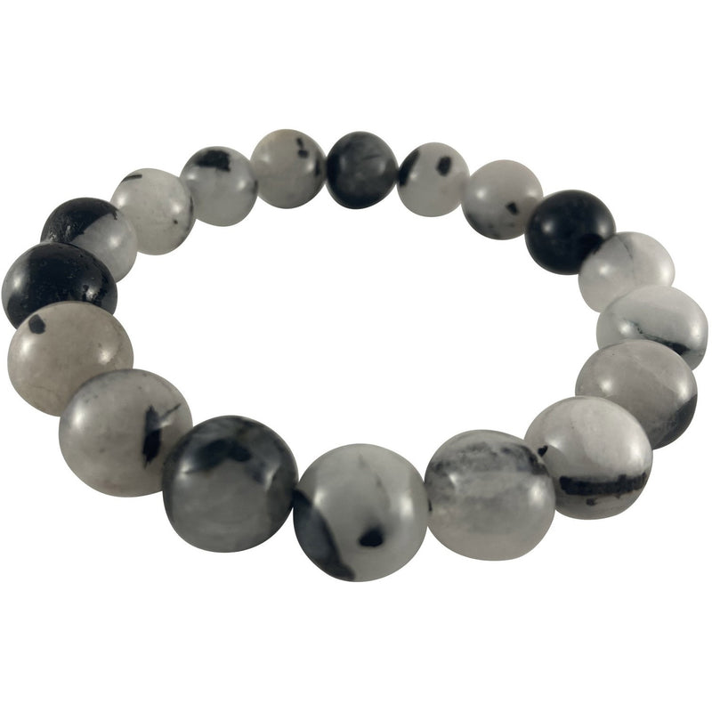 12mm Black Tourmaline Rutile Bracelet - East Meets West USA