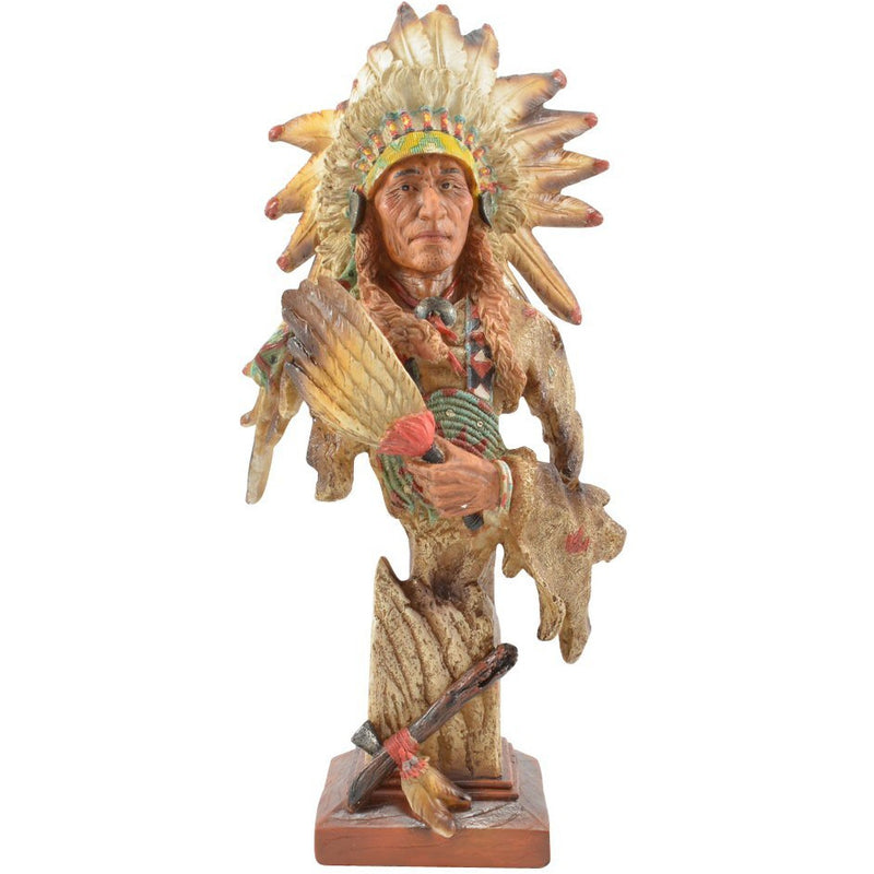 "14"" Native American Bust Figurine - East Meets West USA"