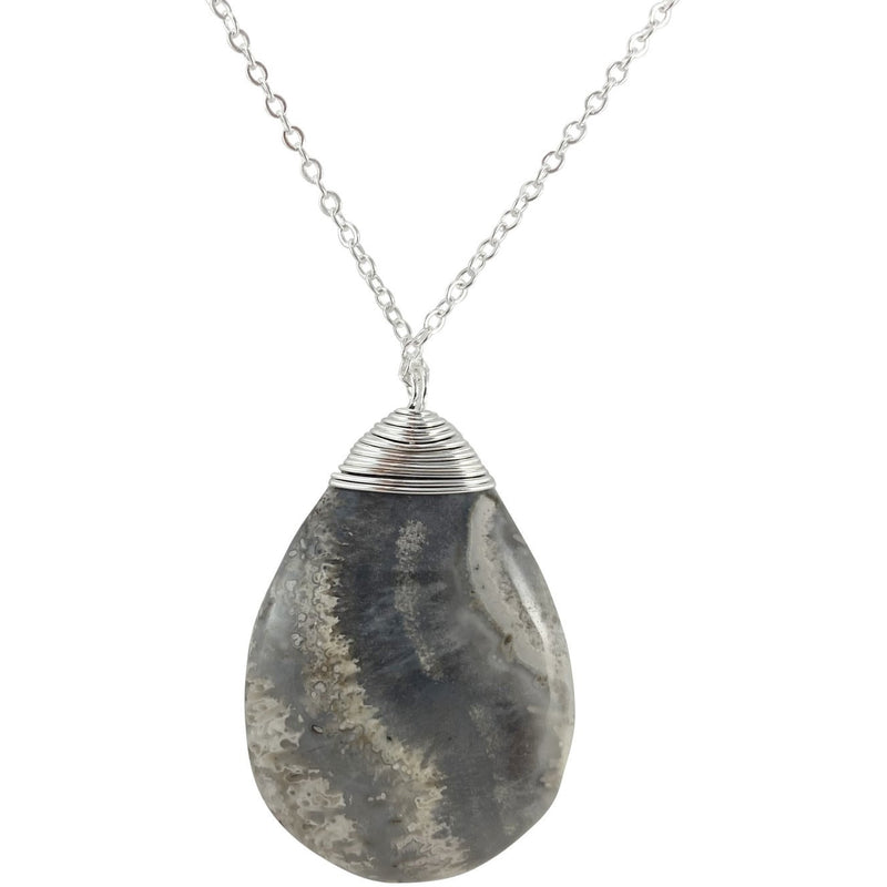 "1.5"" Crazy Lace Agate Tear Drop Necklace - East Meets West USA"