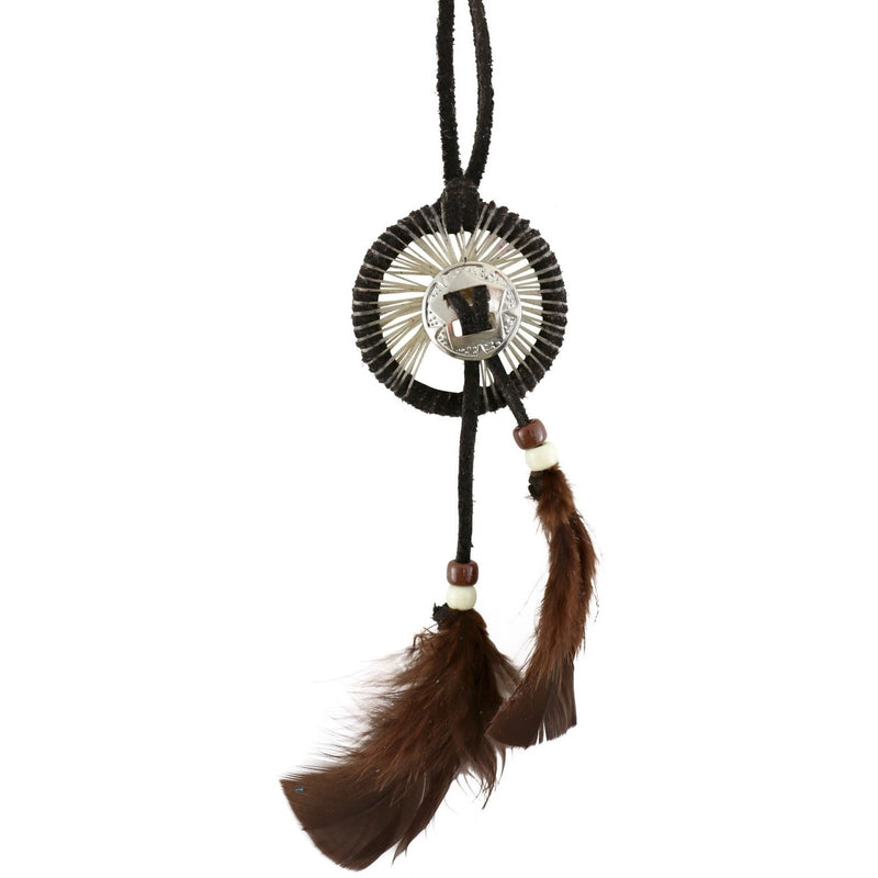"2"" Dreamcatcher with Silver Pendant: Brown - East Meets West USA"