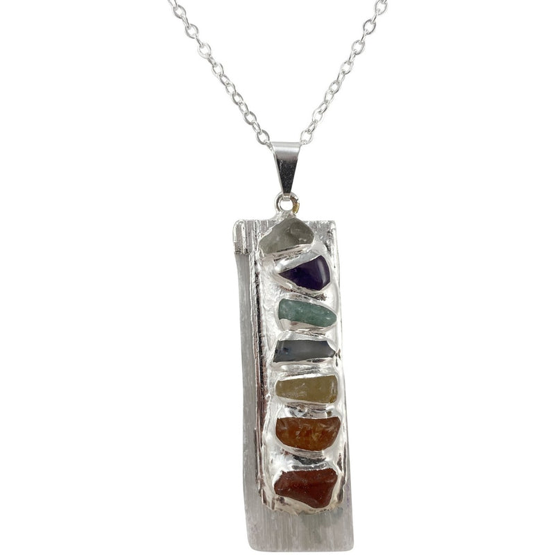 "2"" Selenite w/ Chakra Stones Necklace - East Meets West USA"