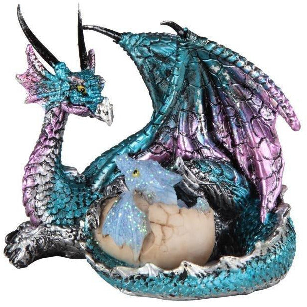 "3"" Blue/Purple Dragon on Egg Figurine - East Meets West USA"
