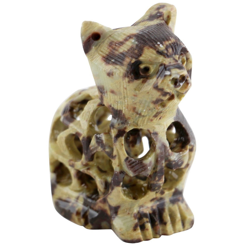 "3"" Jali Spotted Soapstone Cat - East Meets West USA"
