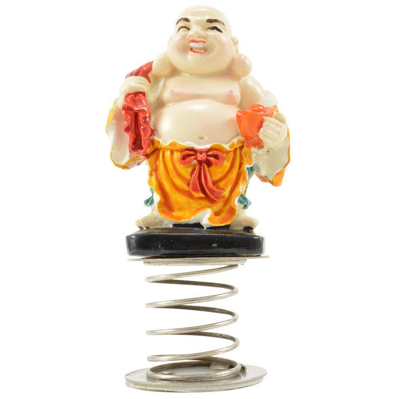 "3"" Laughing Buddha Carrying Bag on Spring Figurine - East Meets West USA"