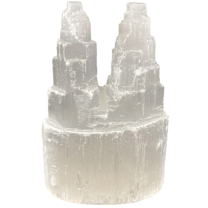 "4"" Double Selenite Tower - East Meets West USA"