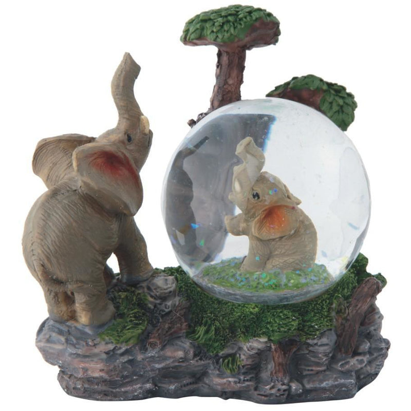 "4"" Mother and Baby Elephant in Globe - East Meets West USA"