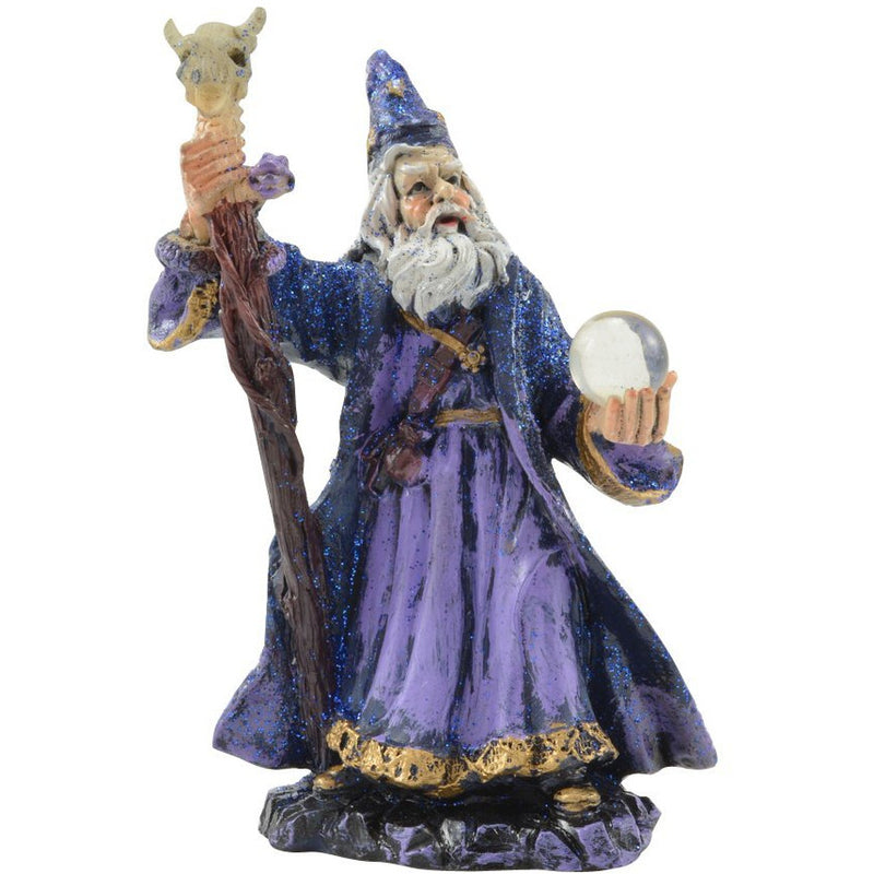 "4"" Purple Wizard with Staff and Orb Figurine - East Meets West USA"