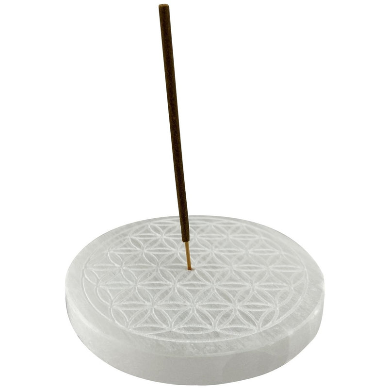 "4"" Selenite Round Incense Holder w/ Engraved Flower of Life - East Meets West USA"