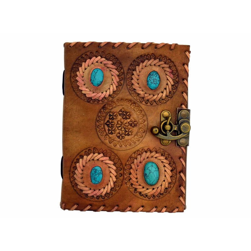 4 Turquoise Stone Leather Embossed Journal - East Meets West USA