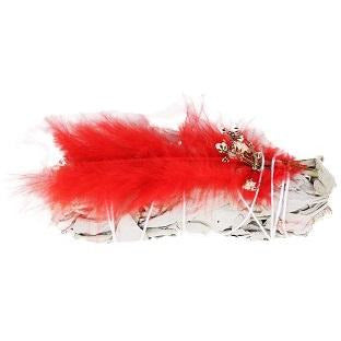 "4"" White Sage w/ Red Feather - East Meets West USA"