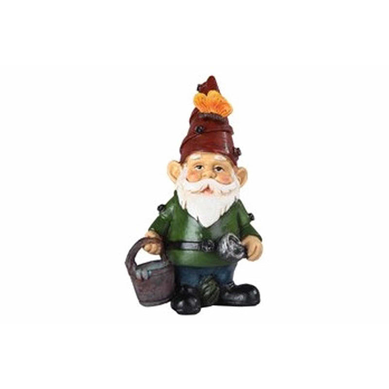 "4.25"" Gnome Grasping Bucket Figurine - East Meets West USA"