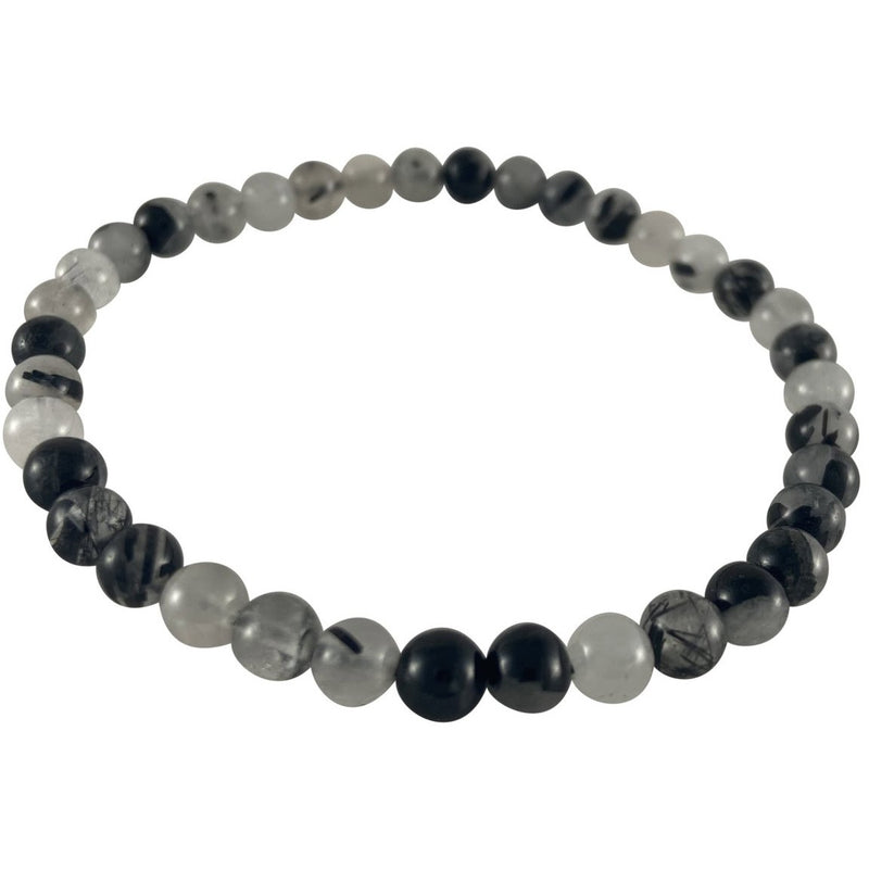 4mm Black Rutilated Quartz Bracelet - East Meets West USA