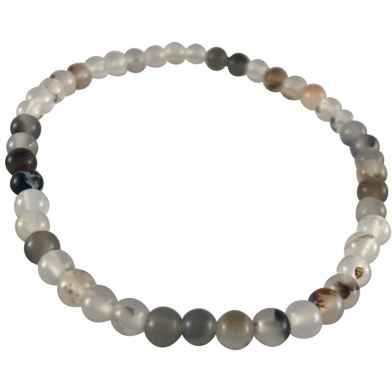 4mm Black & White Agate Bracelet - East Meets West USA