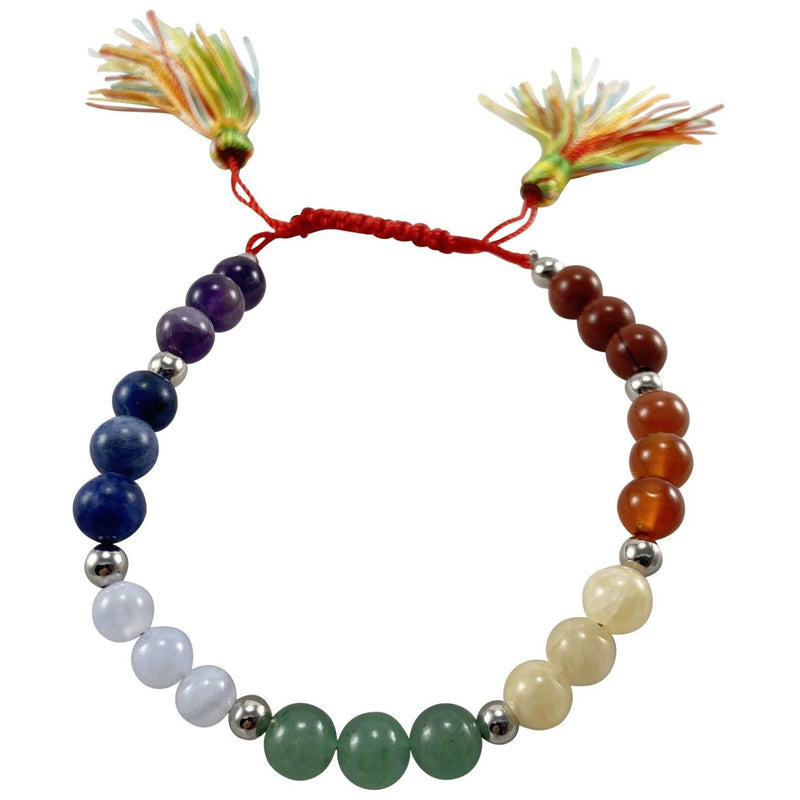 6 mm 7 Chakra, With Tassel Bracelet - East Meets West USA