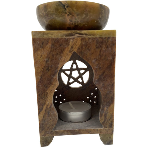 "6"" Soapstone Pentagram Oil Burner - East Meets West USA"