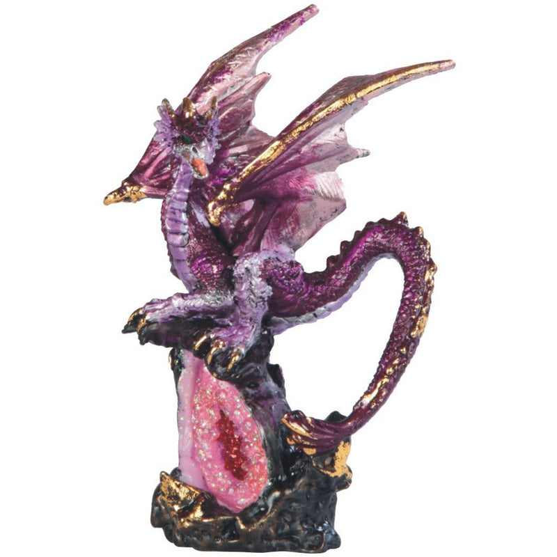 "6.50"" Purple Dragon on Pink Stone Figurine - East Meets West USA"