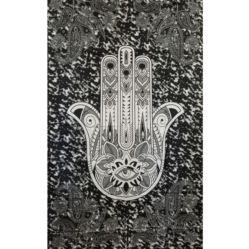 "85""x98"" Black and White Hamsa Tapestry - East Meets West USA"