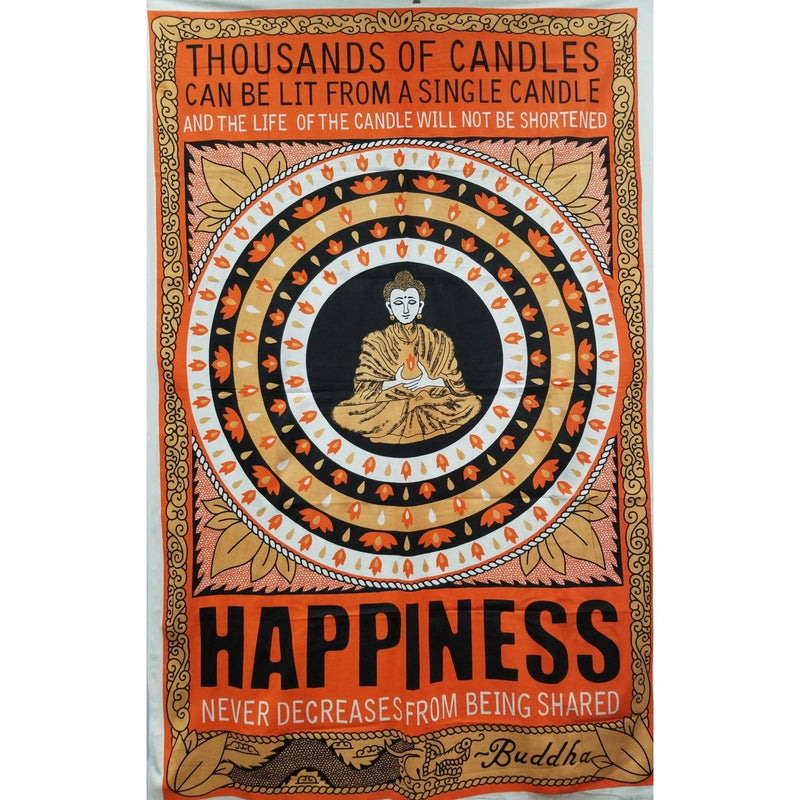 "86""x54"" Orange Happiness Tapestry - East Meets West USA"
