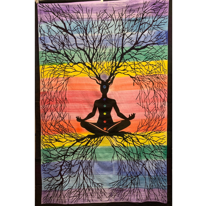 "86""x54"" Rainbow Yoga Tree Tapestry - East Meets West USA"