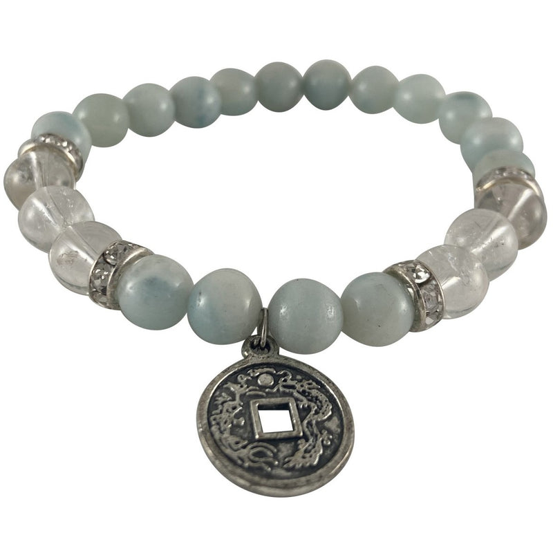 8mm Amazonite & Clear Quartz Bracelet w/ Chinese Coin Charm - East Meets West USA