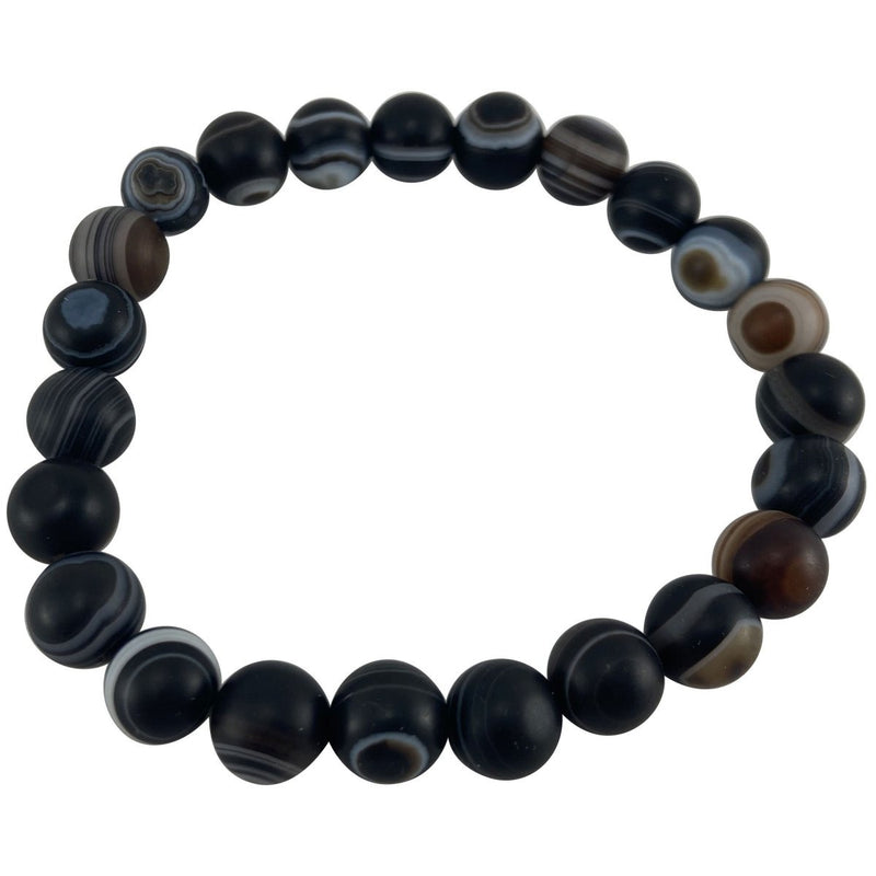 8mm Banded Agate Matte Bracelet - East Meets West USA