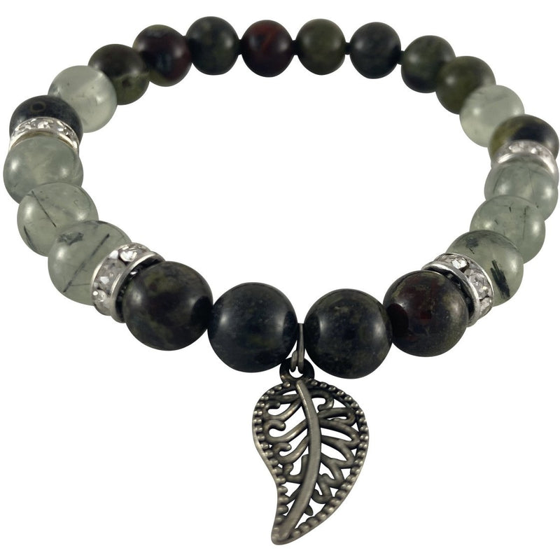 8mm Dragon Blood Jasper & Prehnite Bracelet w/ Leaf Charm - East Meets West USA