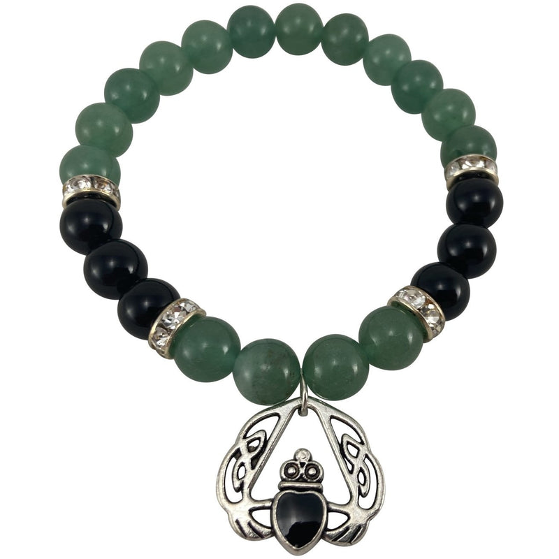 8mm Green Aventurine, Black Onyx, w/ Claddagh charm - East Meets West USA
