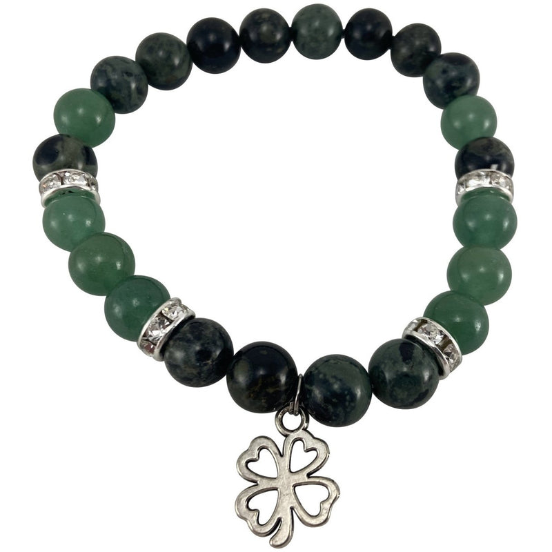 8mm Kambaba Jasper, Green Aventurine, w/ Lucky Clover Charm Bracelet - East Meets West USA
