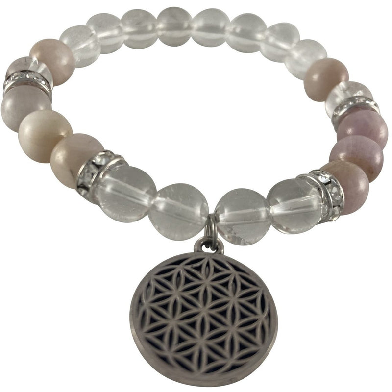 8mm Kunzite & Clear Quartz w/Flower of Life - East Meets West USA