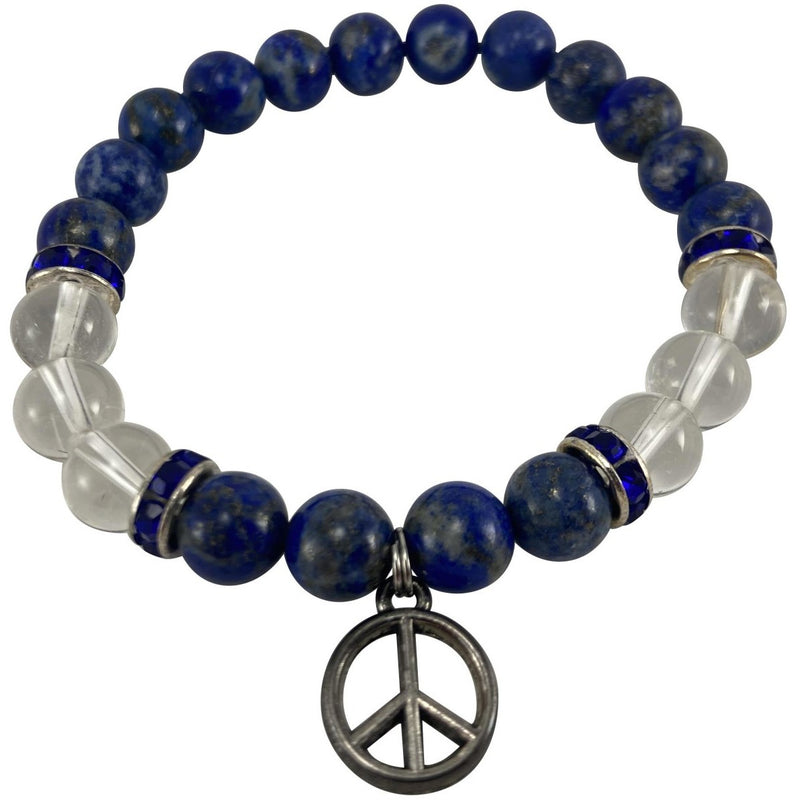 8mm Lapis Lazuli, Quartz Crystal, w/ Peace Sign Charm Bracelet - East Meets West USA